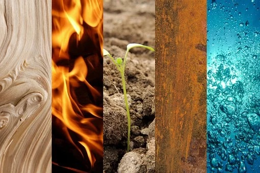 Feng Shui Five Elements - Earth, Water, Wood, Fire, and Metal.